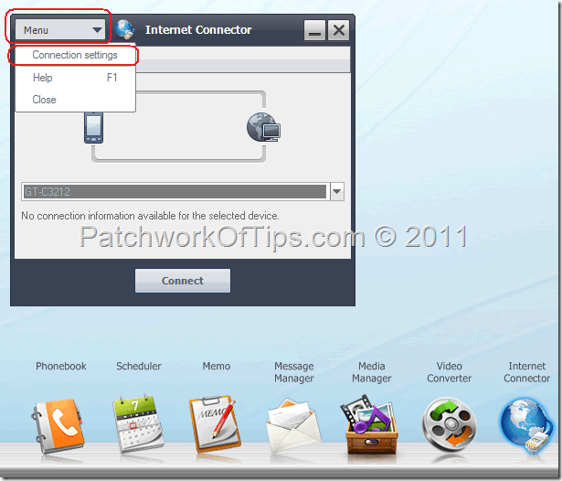 How to setup internet configuration in samsung pc studio