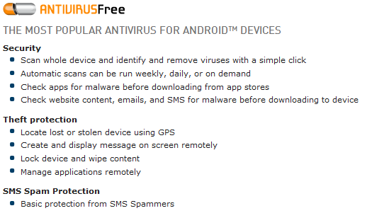 AVG AntivirusFree For Android Devices Features