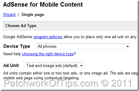 Google Adsense for Mobile Content Setup