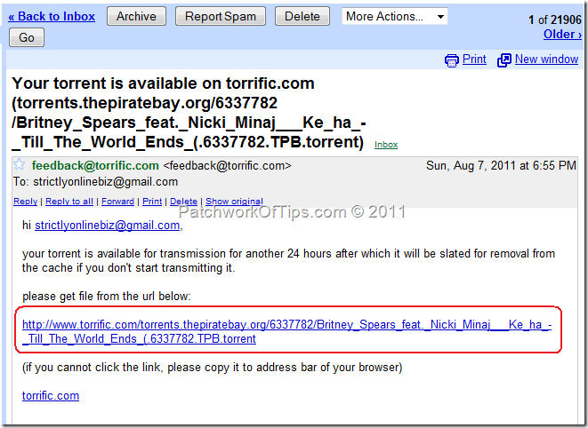 Torrent Download Ready Email Notification