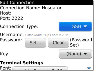 BBSSH For BlackBerry Settings Configuration
