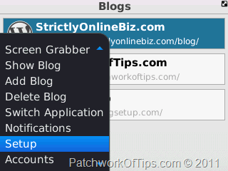WordPress For BlackBerry Connection Setup