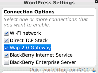 WordPress For BlackBerry Multiple Internet Connection
