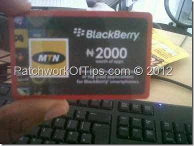 MTN BlackBerry Appworld Recharge Card