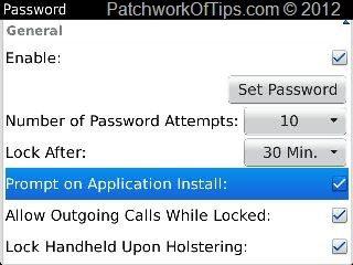 Set BlackBerry Device Password