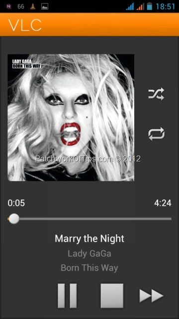 VLC For Android Playing Lady Gaga's Marry The Night
