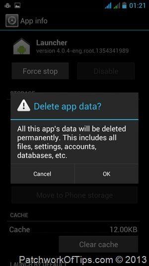 Delete Android Launcher Data - Cache
