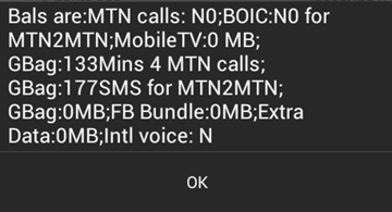 Check MTN Goody Bag Call, SMS and Data Balance