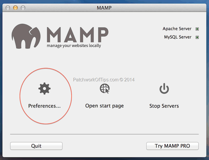 MAMP for MAC Panel Setup