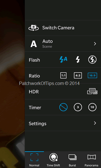 BlackBerry 10 Camera Settings