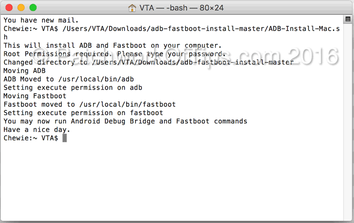 Android Fastboot Drivers For Mac OS X Installed
