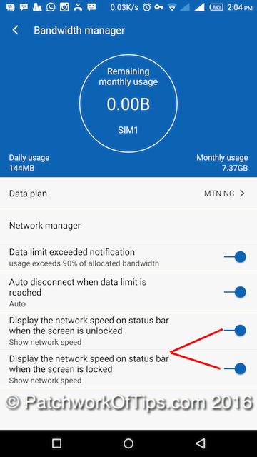 Infinix Zero 3 Network Speed Meter