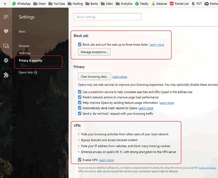 Opera Free VPN and AdBlock