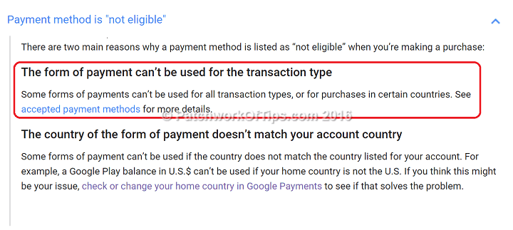 Google Play Store Payment Not Eligible