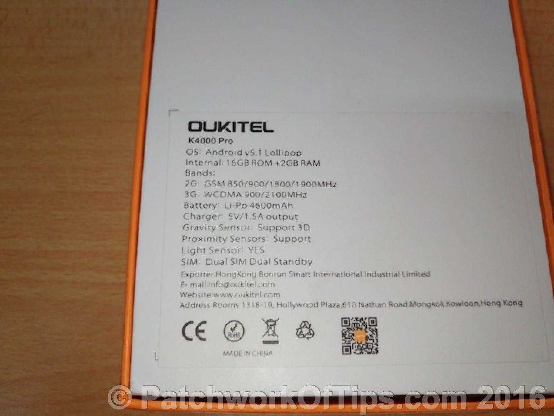 Oukitel K4000 Pro Specs