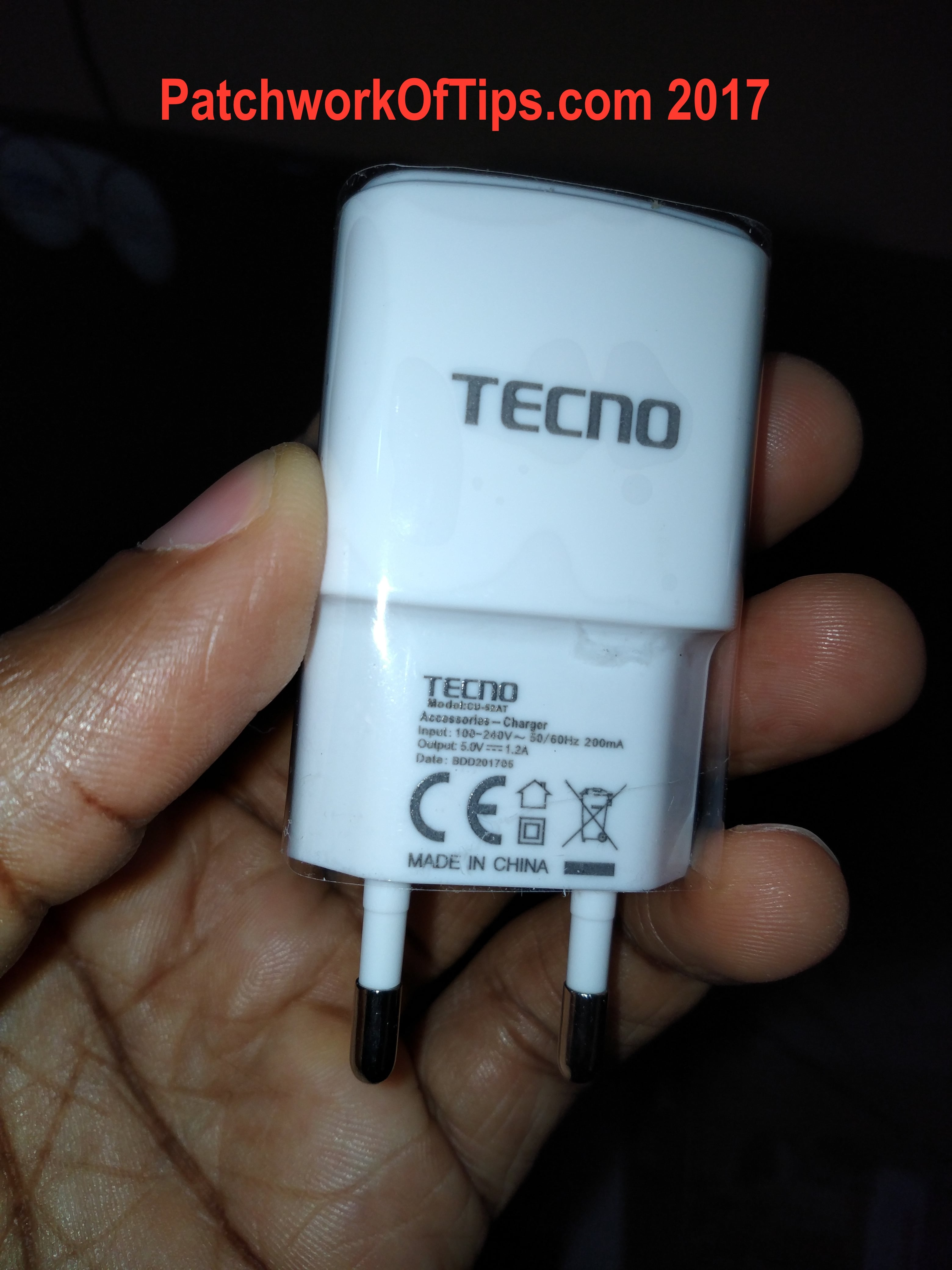 Tecno WX3P 5V-1.2A Charger